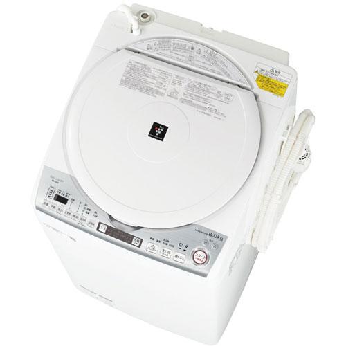 【設置+リサイクル(別途料金)+長期保証】シャープ ES-TX8D-W(ホワイト) タテ型洗濯乾燥機 上開き 洗濯8kg/乾燥4.5kg