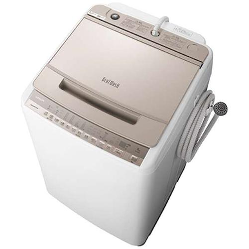 【設置】日立 BW-V80F-N(シャンパン) 全自動洗濯機 ビートウォッシュ 上開き 洗濯8kg