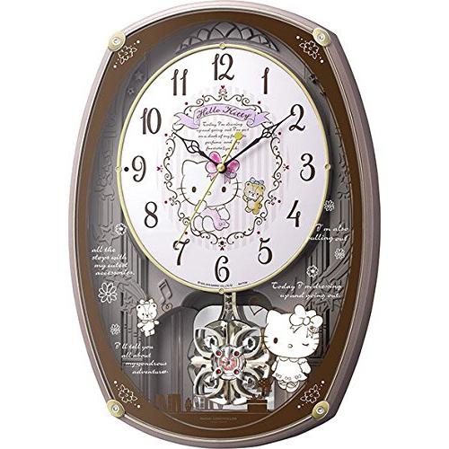 リズム時計 4MN540MB13(ピンクメタリック) ハローキティM540 報時付電波掛け時計