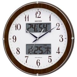 リズム時計 4FY622SR23(木目仕上) ピュアカレンダー622 カレンダー・温度湿度表示付電波掛時計