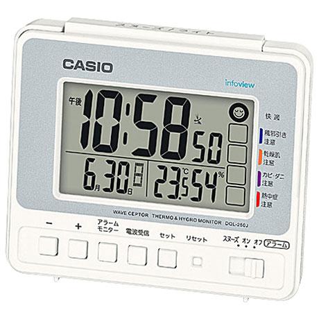 【在庫あり】14時までの注文で当日出荷可能! CASIO カシオ DQL-250J-8JF(シルバー) 電波目覚まし時計 DQL-250Jシリーズ DQL250J8JFポータブル 熱中症対策 アウトドア 外出 気温 湿度 散歩 日焼け 太陽