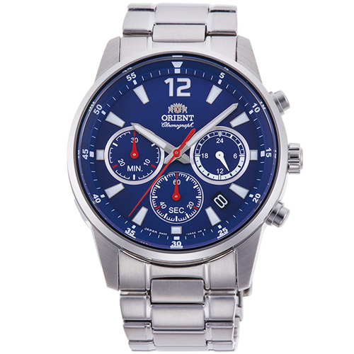 【長期保証付】オリエント RN-KV0002L(ネイビー) スポーティー クオーツ 腕時計(メンズ)