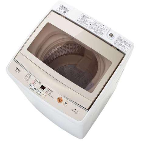 アクア AQW-GS70F-W(ホワイト) ワイドガラストップ 全自動洗濯機 上開き 洗濯7kg