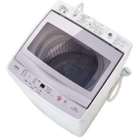 【設置】アクア AQW-GP70F-W(ホワイト) ワイドガラストップ 全自動洗濯機 上開き 洗濯7kg