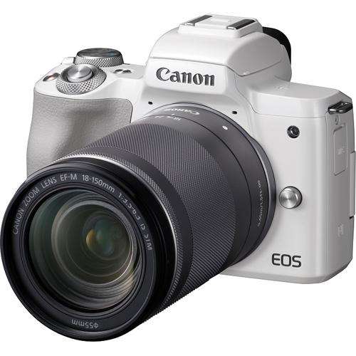 【長期保証付】CANON キヤノン ミラーレス一眼カメラ ホワイト EOS Kiss M EF-M18-150 IS STM レンズキット 2410万画素APS-CサイズCMOSセンサー搭載/デュアルピクセルCMOS AF