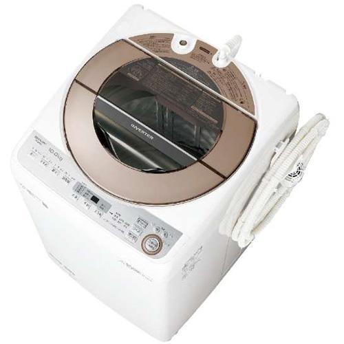 【設置+リサイクル】シャープ ES-GV10C-T(ブラウン) 全自動洗濯機 上開き 洗濯10kg