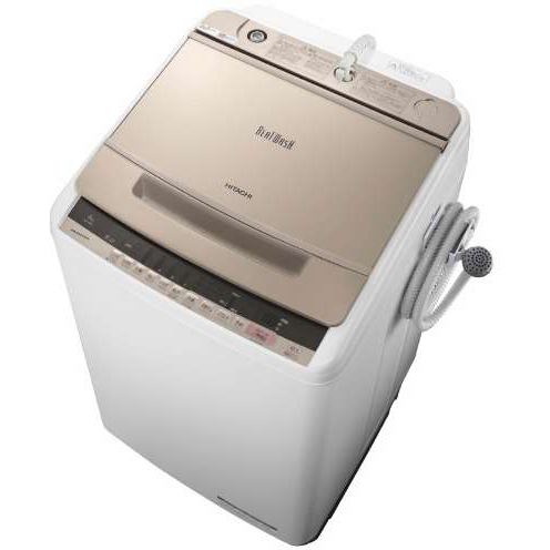 【設置】日立 BW-V80C-N(シャンパン) ビートウォッシュ 全自動洗濯機 上開き 洗濯8kg