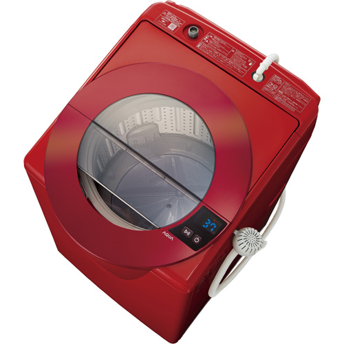 【設置】アクア AQW-LV80G-R(シャイニーレッド) 全自動洗濯機 上開き 洗濯8.0kg