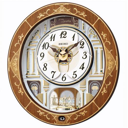 セイコー RE580B(天然色木地) からくり・アミューズ 電波掛時計