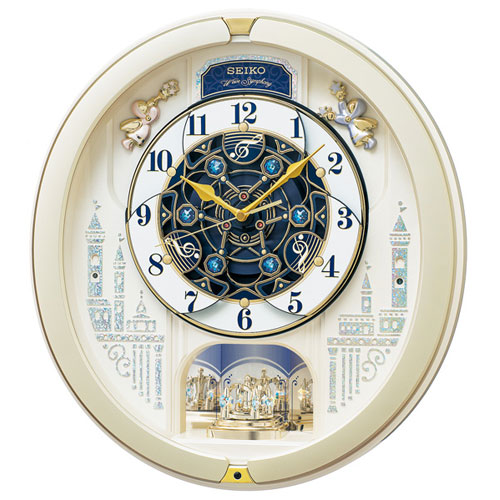 セイコー RE579S 薄金色パール 電波掛時計 ブランド激安セール会場 有名な アミューズ からくり