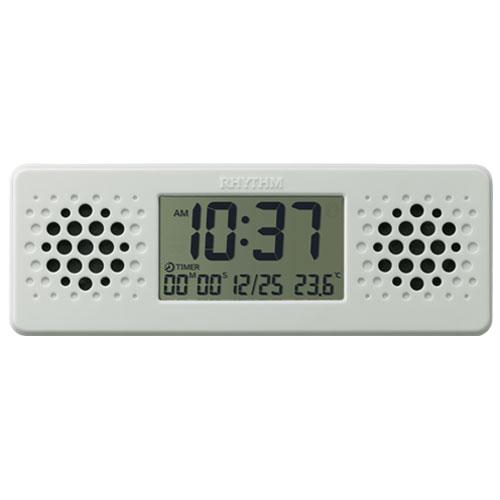 リズム時計 8RDA73RH03(白) 目覚まし時計 アクアプルーフ ミュージック