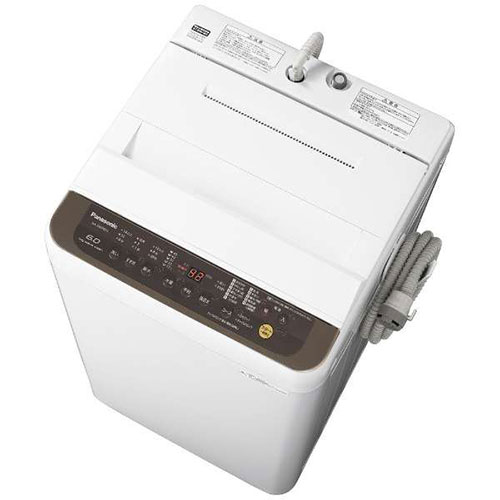 【設置】パナソニック NA-F60PB12-T(ブラウン) 全自動洗濯機 上開き 洗濯6kg