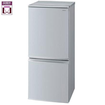 【設置+リサイクル】シャープ SJ-D14E-S(シルバー) 2ドア冷蔵庫 左右付替タイプ 137L