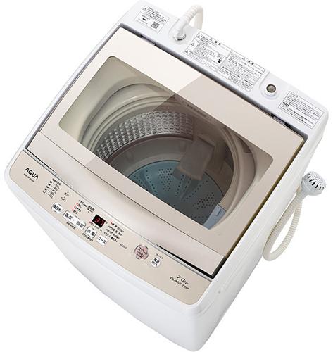 【設置+リサイクル+長期保証】アクア AQW-GP70G-W(ホワイト) 全自動洗濯機 上開き 洗濯7kg