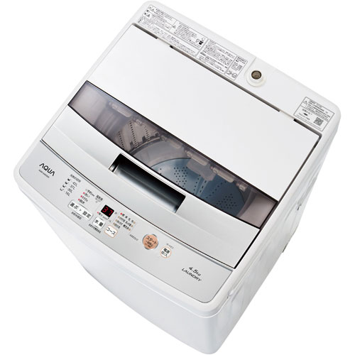 【設置+長期保証】アクア AQW-S45G-W(ホワイト) 全自動洗濯機 上開き 洗濯4.5kg