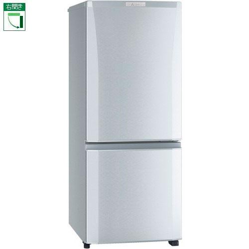 【設置+リサイクル+長期保証】三菱 MR-P15D-S(シャイニーシルバー) Pシリーズ 2ドア冷蔵庫 右開き 146L