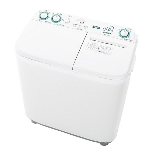 【設置+長期保証】アクア AQW-N40-W(ホワイト) 2槽式洗濯機 洗濯4kg/脱水4kg