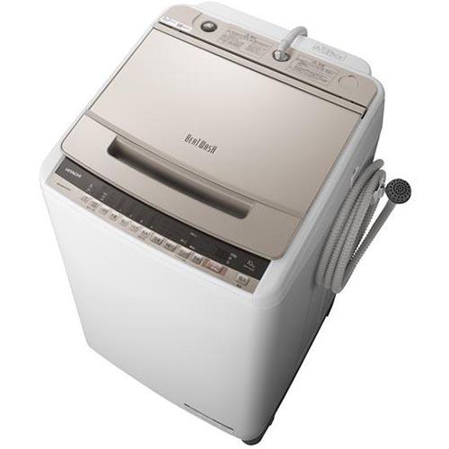 【設置+リサイクル(別途料金)+長期保証】日立 BW-V100E-N(シャンパン) ビートウォッシュ 全自動洗濯機 上開き 洗濯10kg