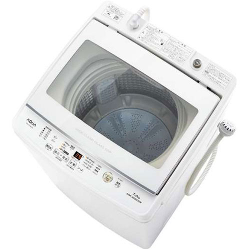 【設置+リサイクル(別途料金)】アクア AQW-GV70H-W(ホワイト) 全自動洗濯機 上開き 洗濯7kg