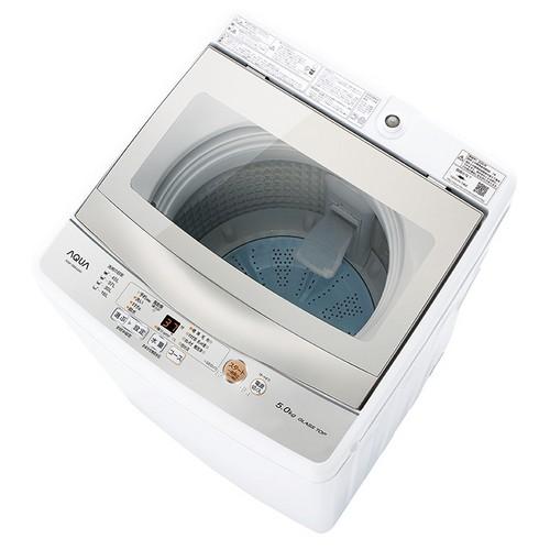 出荷 お買い得品 設置 アクア AQW-GS50J-W ホワイト 洗濯5kg 上開き 全自動洗濯機