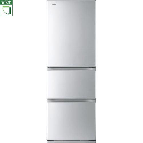 【標準設置料金込】【長期保証付】【送料無料】東芝 GR-S36S-S(シルバー) Sシリーズ 3ドア冷蔵庫 右開き 363L[代引・リボ・分割・ボーナス払い不可]