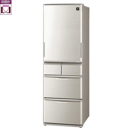 【標準設置料金込】【長期保証付】【送料無料】シャープ SJ-W412F-S(シルバー系) 5ドア冷蔵庫 両開き 412L[代引・リボ・分割・ボーナス払い不可]