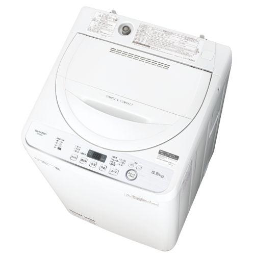 シャープ ES-GE5D-W(ホワイト系) 全自動洗濯機 上開き 洗濯5.5kg