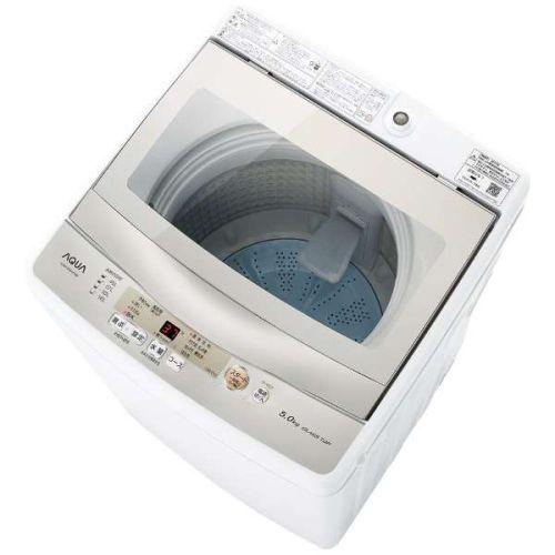 【設置+リサイクル(別途料金)】アクア AQW-GS50H-W(ホワイト) 全自動洗濯機 上開き 洗濯5kg