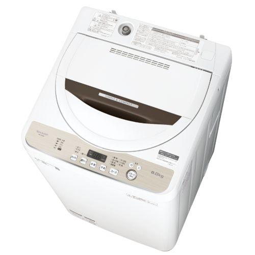 【設置+長期保証】シャープ ES-GE6D-T(ブラウン系) 全自動洗濯機 上開き 洗濯6kg
