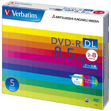 Verbatim DHR85HP5V1 データ用 DVD-R DL 8.5GB 1回記録 プリンタブル 8倍速 5枚