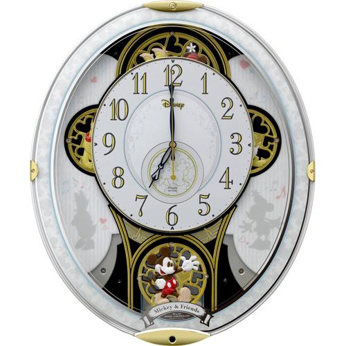 リズム時計 4MN509MC03(白) ミッキー&フレンズ M509 報時付電波置時計