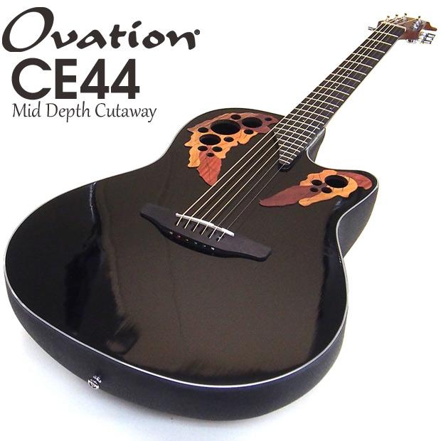 Ovation オベーション CE44-5 Black ブラック エレアコ アコギ アコースティックギター リーフホールタイプ
