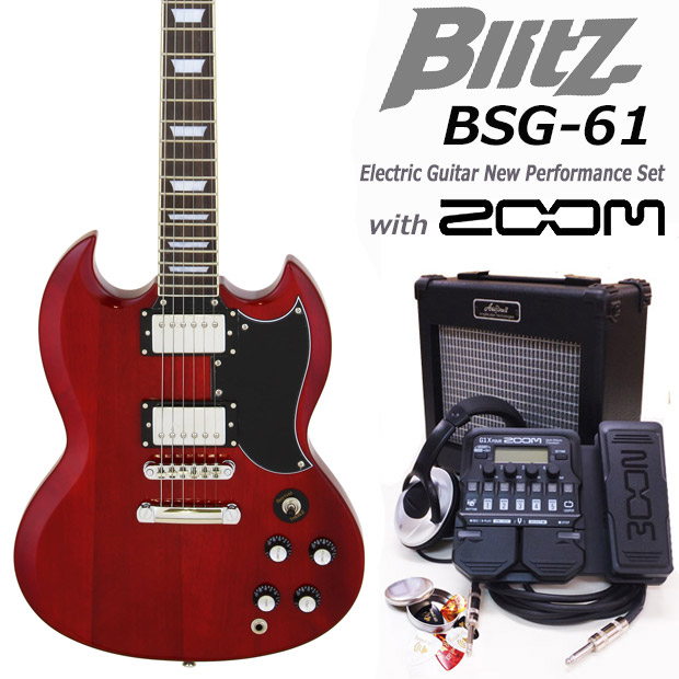 エレキギター初心者 Blitz BSG-61/WR入門セット16点【G16X】【エレキギター初心者】【送料無料】