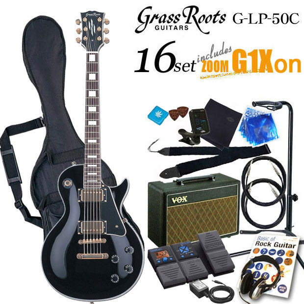 グラスルーツ Grassroots G-LP-60C BLK エレキギター初心者 入門セット16点【送料無料】【エレキギター初心者】
