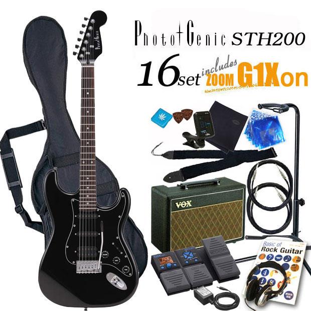 エレキギター初心者 フォトジェニック Photogenic STH-200 BK 入門セット16点【エレキギター初心者】【送料無料】