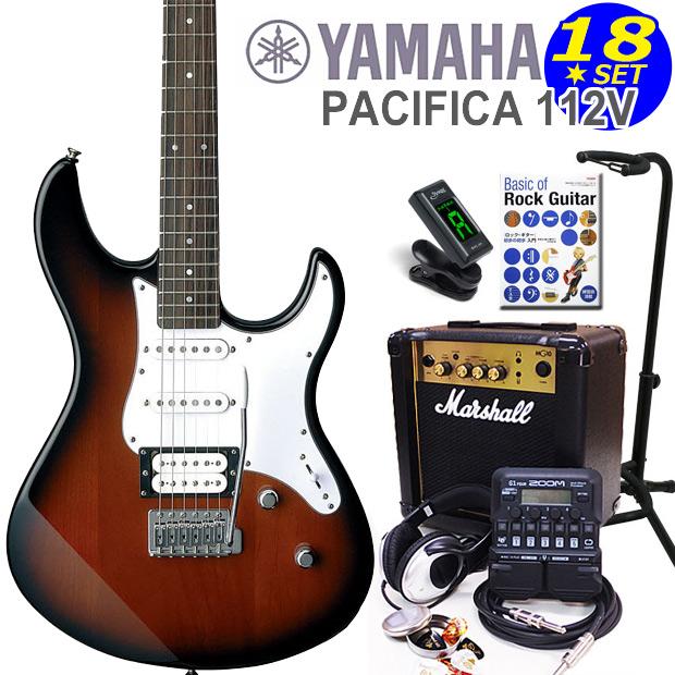 YAMAHA ヤマハ PACIFICA 112V/OVS エレキギター マーシャルアンプ付 初心者セット16点 ZOOM G1on付き【エレキギター初心者】【送料無料】