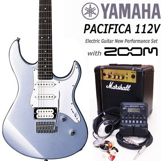 YAMAHA ヤマハ PACIFICA 112V/SL エレキギター マーシャルアンプ付 初心者セット18点 ZOOM G1Four付き【エレキギター初心者】