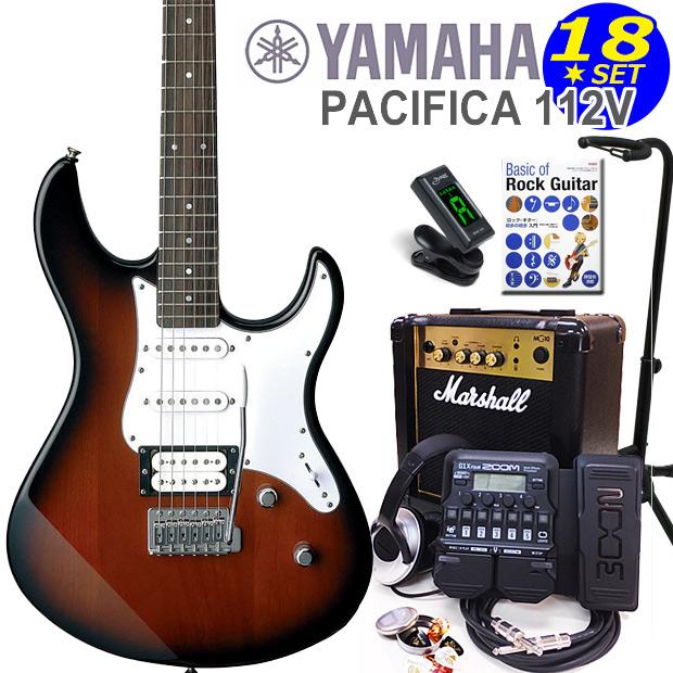 YAMAHA ヤマハ PACIFICA 112V/OVS エレキギター マーシャルアンプ付 初心者セット16点 ZOOM G1Xon付き【エレキギター初心者】【送料無料】