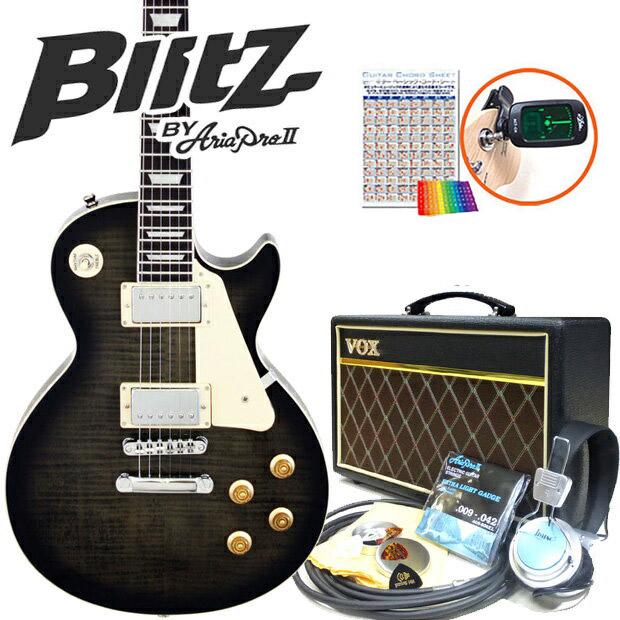 エレキギター 初心者セット Blitz BLP-450/SBK レスポールタイプ VOXアンプ付15点セット【送料無料】