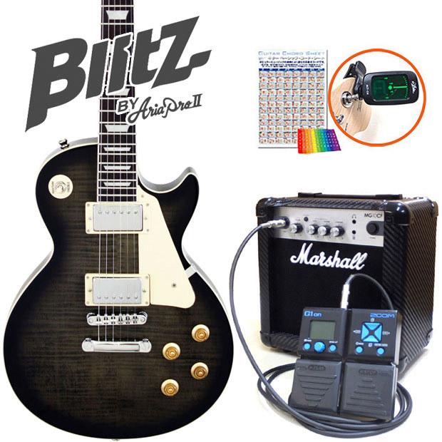 BLP-450 Blitz G1on付き【エレキギター初心者】【送料無料】 初心者セット16点 SBK エレキギター ブリッツ マーシャルアンプ付 ZOOM