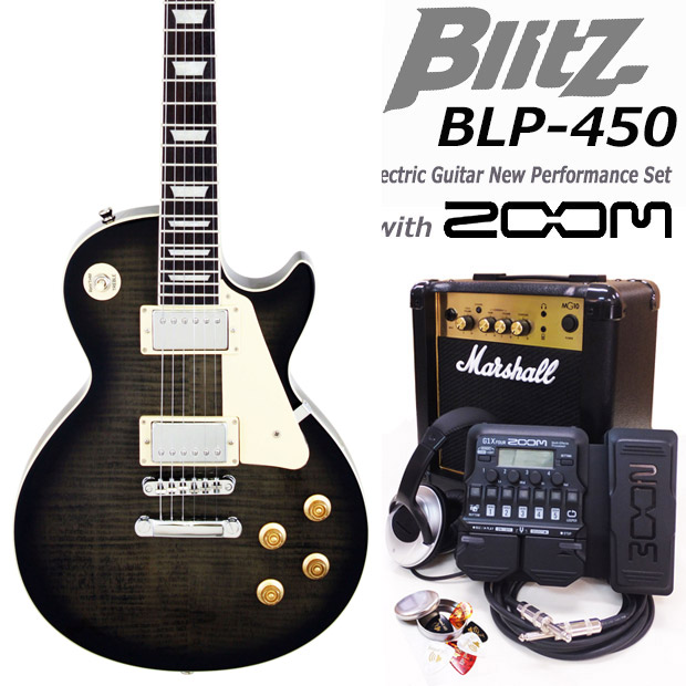 Blitz Blitz ブリッツ BLP-450 SBK エレキギター マーシャルアンプ付 エレキギター 初心者セット16点 ZOOM ZOOM G1Xon付き【エレキギター初心者】【送料無料】, 憧れの:69335ce5 --- sunward.msk.ru