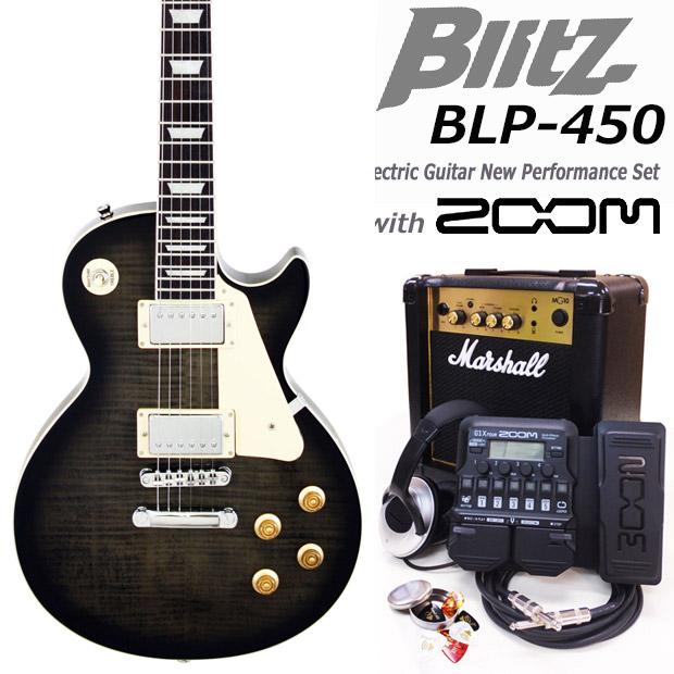 Blitz ブリッツ BLP-450 SBK エレキギター マーシャルアンプ付 初心者セット18点 ZOOM G1XFour付き【エレキギター初心者】
