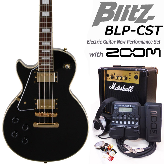 Blitz ブリッツ BLP-CST LH/BK 左利きエレキギター マーシャルアンプ付 初心者セット18点 ZOOM G1XFour付き【エレキギター初心者】