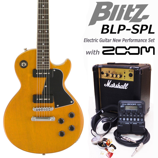Blitz ブリッツ BLP-SPL YL エレキギター マーシャルアンプ付 初心者セット16点 ZOOM G1on付き【エレキギター初心者】【送料無料】