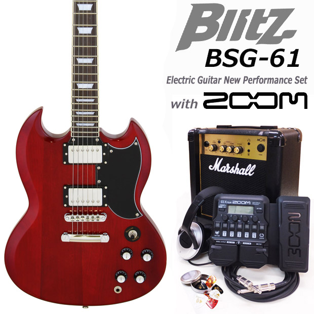 Blitz ブリッツ BSG-61 WR エレキギター マーシャルアンプ付 初心者セット16点 ZOOM G1Xon付き【エレキギター初心者】【送料無料】