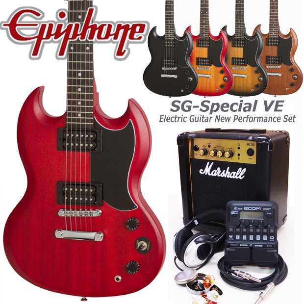 Epiphone エピフォン SG-Special VE エレキギター 初心者セット18点 Marshallアンプ・ZOOM G1Four付き【エレキギター初心者】