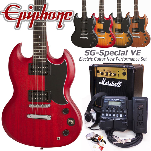 Epiphone エピフォン SG-Special VE エレキギター 初心者セット18点 Marshallアンプ・ZOOM G1XFour付き【エレキギター初心者】