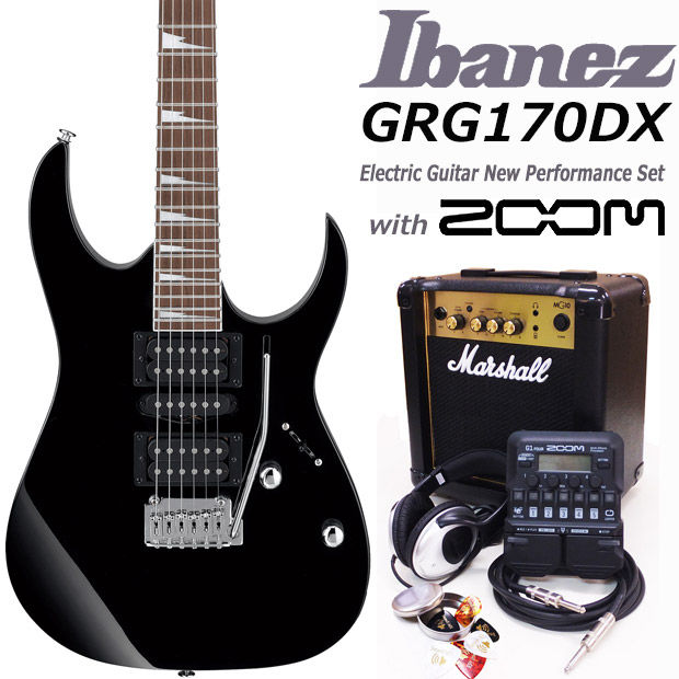 Ibanez アイバニーズ GRG170DX BKN エレキギター マーシャルアンプ付 初心者セット18点 ZOOM G1Four付き【エレキギター初心者】