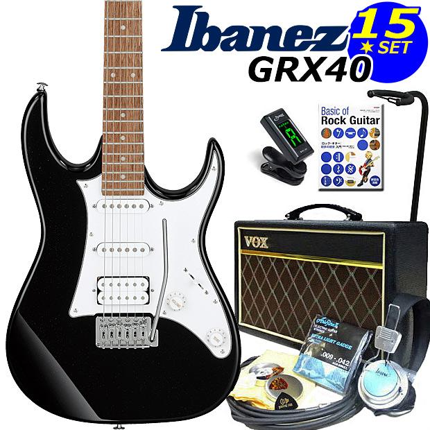 Ibanez アイバニーズ GRX40 BKN VOXアンプ付き入門15点セット【エレキギター初心者】