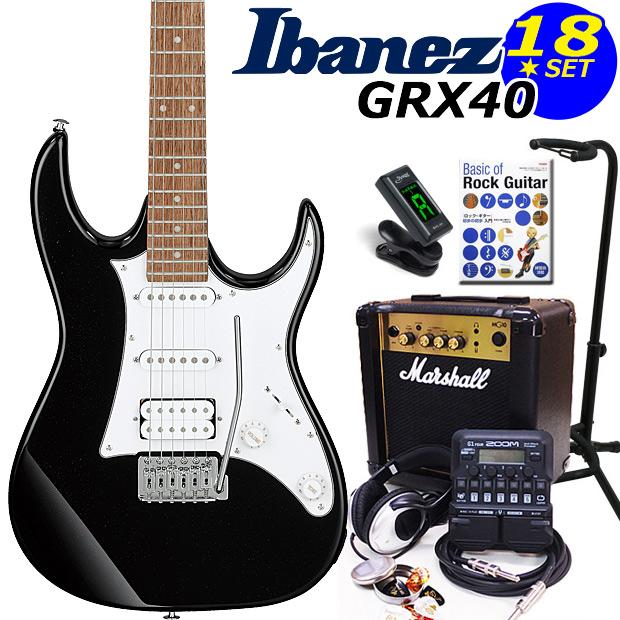 Ibanez アイバニーズ GRX40 BKN エレキギター マーシャルアンプ付 初心者セット18点 ZOOM G1Four付き【エレキギター初心者】
